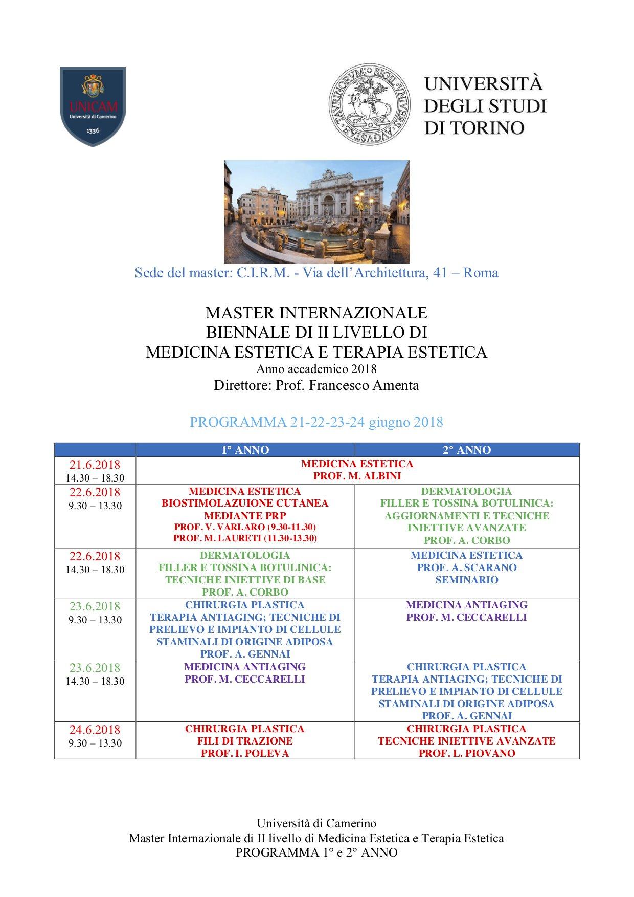 Master Universitario di 2° livello Internazionale in Medicina Estetica e Terapia Estetica