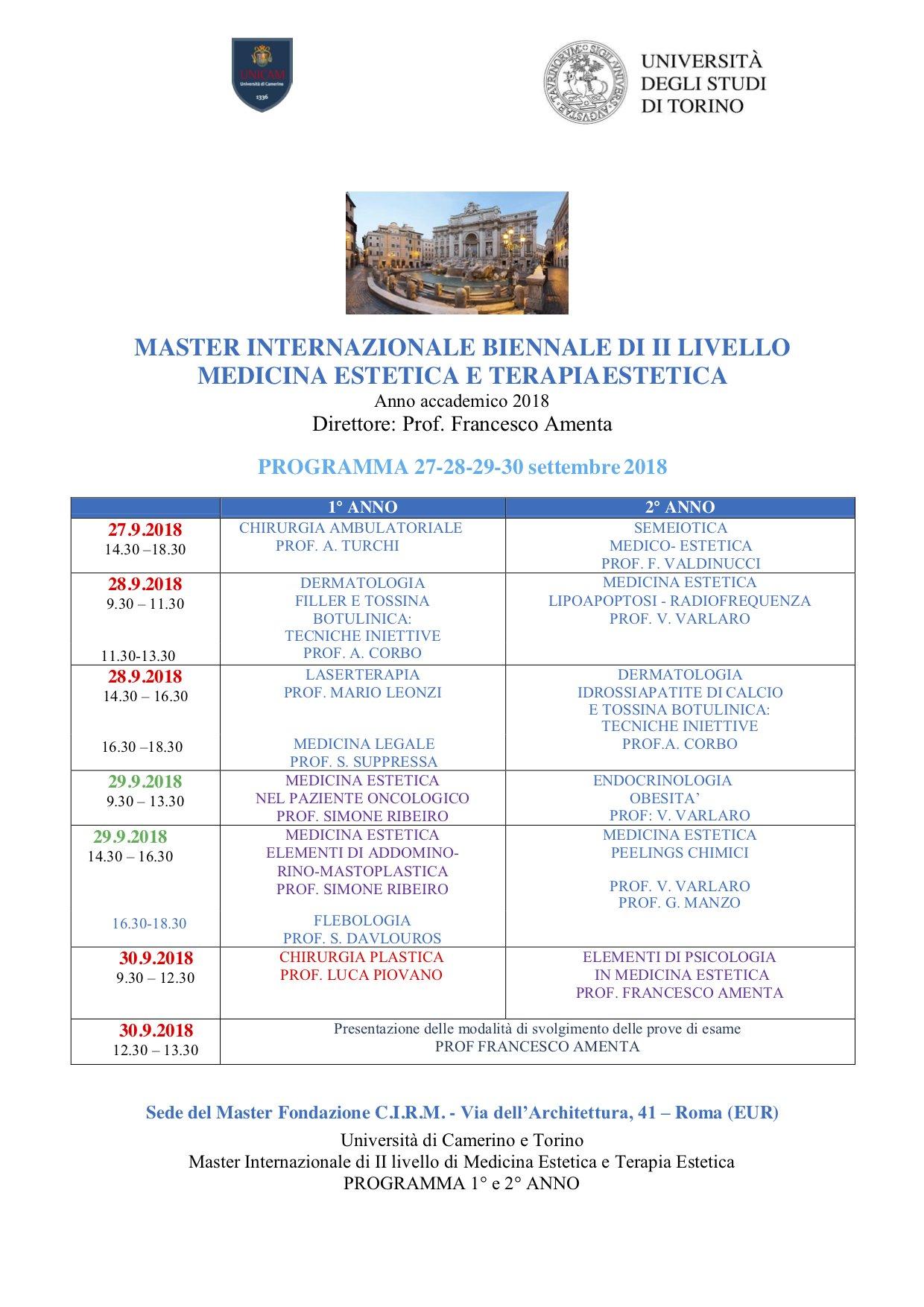 UNICAM PROGRAMMA ROMA SETTEMBRE 2018