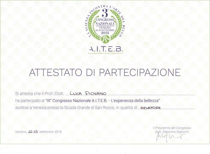 attestato di partecipazione AITEB