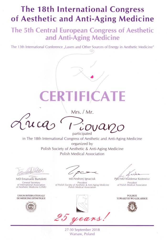 18th international congress of aesthetic and anti-aging medicine - Prof. Luca Piovano