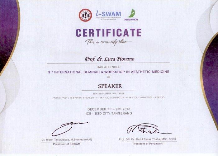 i-SWAM 2018 certificate Dr. Piovano