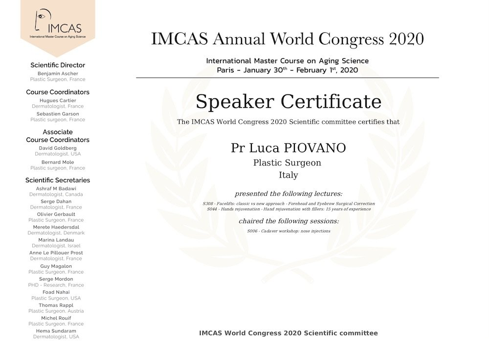 imcas annual world congress 2020 speaker certificate dr piovano