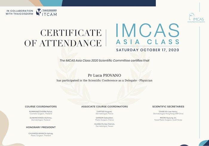 imcas asia class 2020 certificate luca piovano